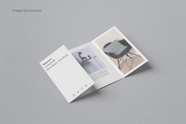 Perspective square gate fold brochure mockup