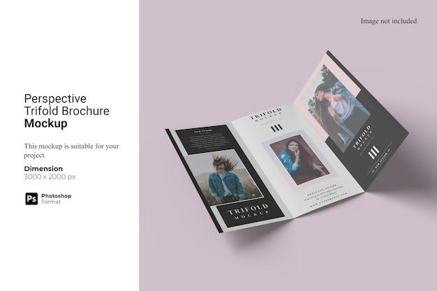 Perspective trifold broschüre mockup