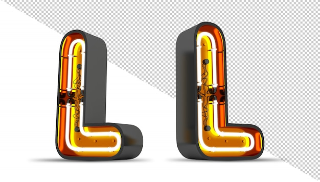Perspektive alphabet neonlicht 3d rendering illustration.