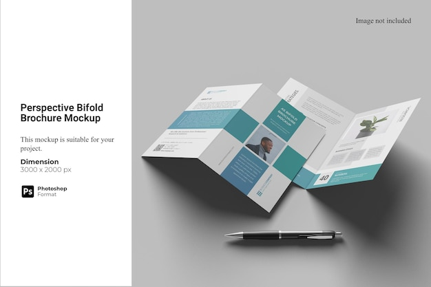 Perspektive bifold broschüre mockup