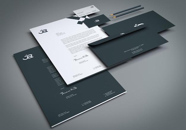 Perspektivische ansicht corporate briefpapier set mockup design