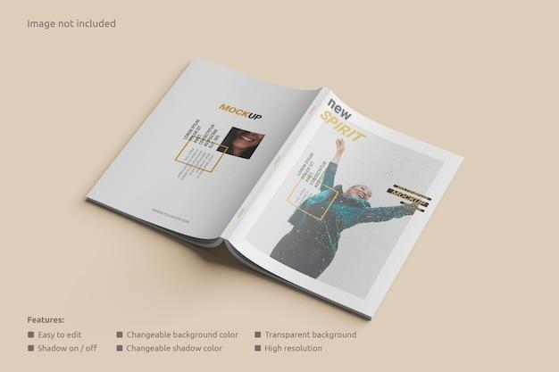 Perspektivische ansicht des cover-magazin-mockups