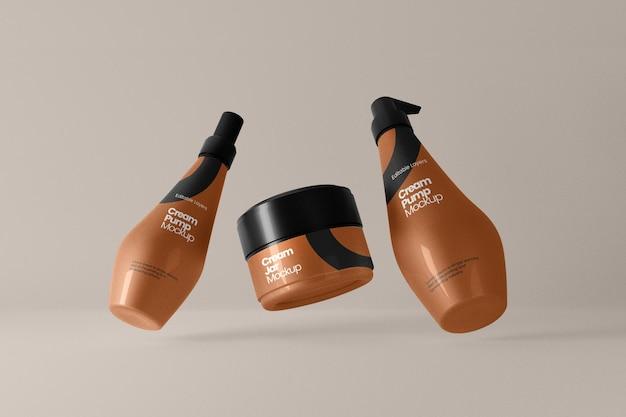 Perspektivische ansicht des kosmetischen cremetiegels und mehrerer pumpflaschen-modelle