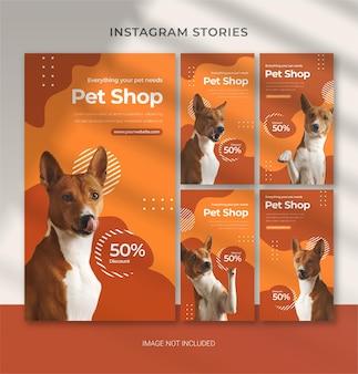 Pet care-vorlage für instagram-geschichten