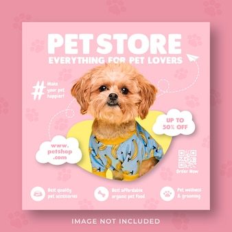 Pet shop promotion social media instagram post banner vorlage