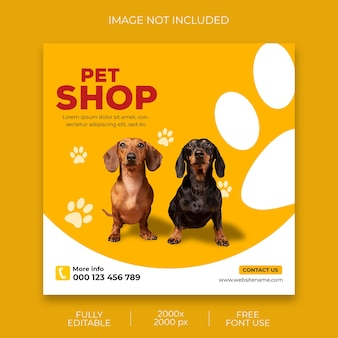 Pet shop promotion social media instagram post banner vorlage Premium PSD