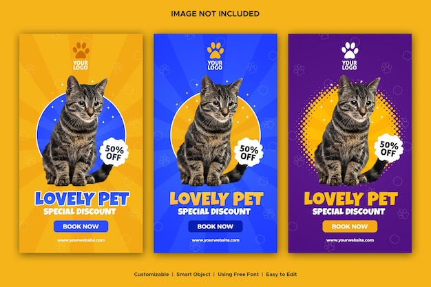 Pet shop social media vorlage design banner instagram story