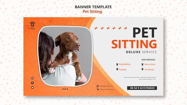 Pet sitting konzept banner vorlage