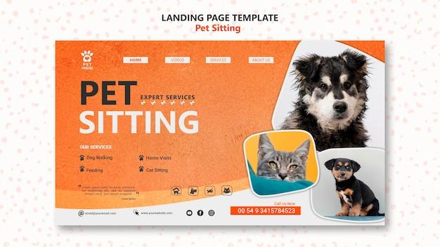 Pet sitting konzept landingpage vorlage