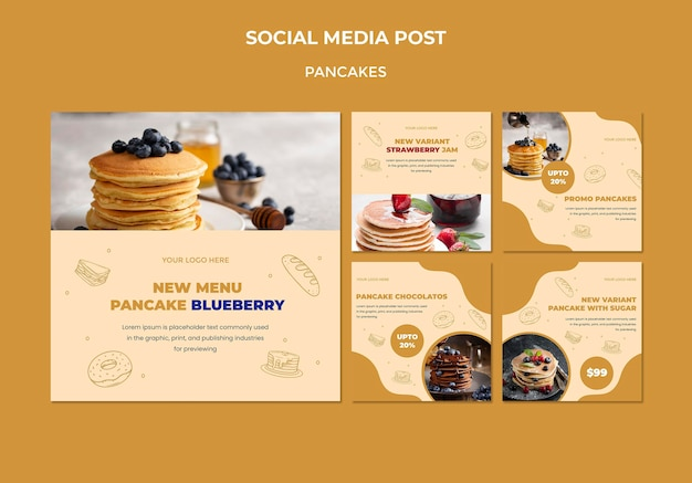 Pfannkuchen restaurant social media post vorlage