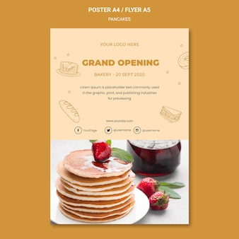 Pfannkuchen-restaurantplakatschablone