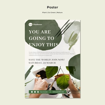 Pflanze gehen grünes naturplakat