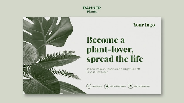 Pflanzen banner vorlage design