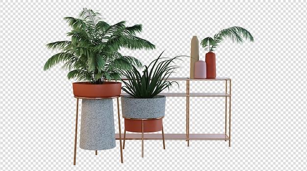 Pflanzen und moderner tisch