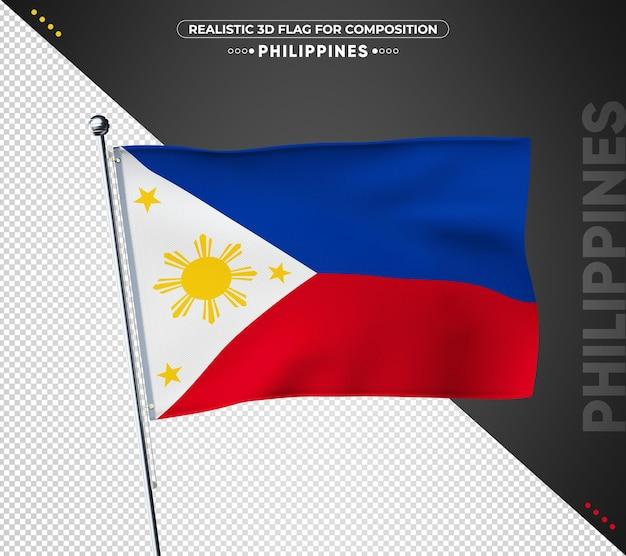 Philippinen flagge mit realistischer textur