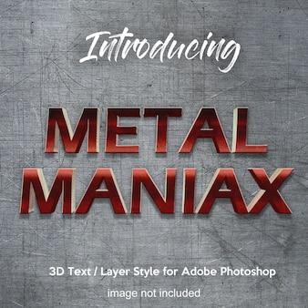 Photoshop-ebenenart-texteffekte des metalleisen-chrom 3d
