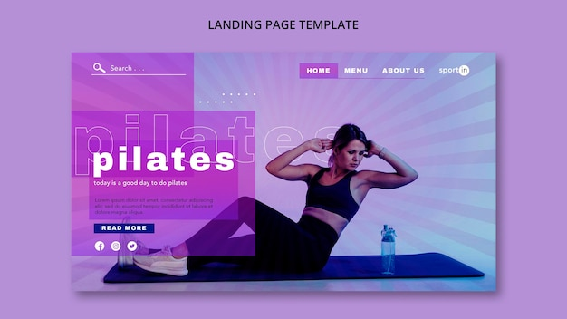 Pilates training landing page vorlage