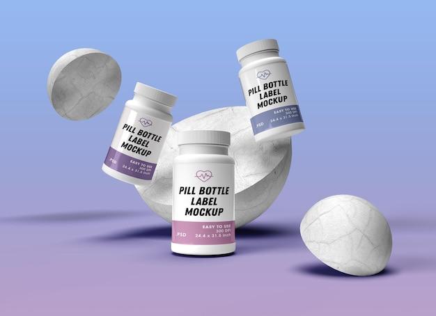 Pill bottles mockup design rendering