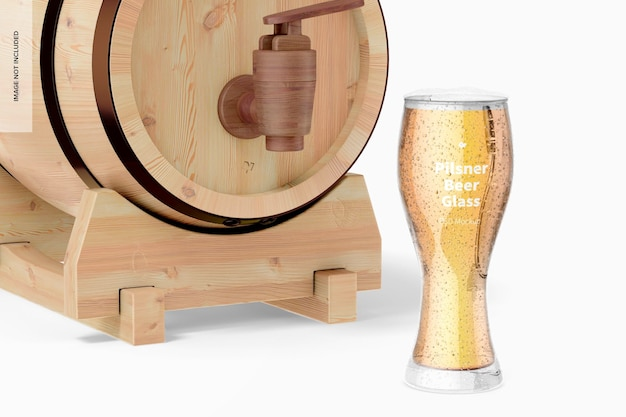 Pilsner bierglas mit fassmodell