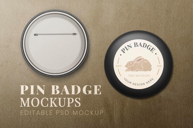 Pin-abzeichen-mockup-set psd, vorder- und rückseite