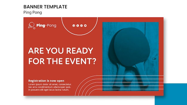 Ping pong banner konzeptvorlage