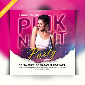 Pink nacht party flyer
