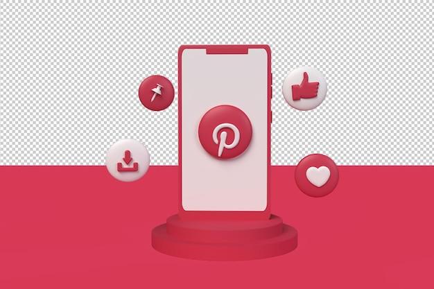 Pinterest-symbol 3d mit telefon. 3d-rendering