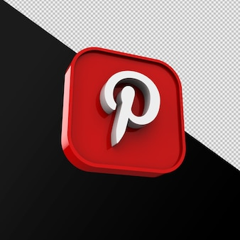 Pinterest-symbol, social-media-anwendung. 3d-rendering premium-foto