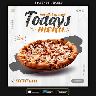 Pizza essen social media banner post vorlage