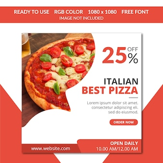 Pizza instagram post oder quadratische banner
