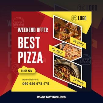 Pizza restaurant instagram post, quadratische banner oder flyer vorlage