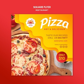 Pizza restaurant quadratischen flyer