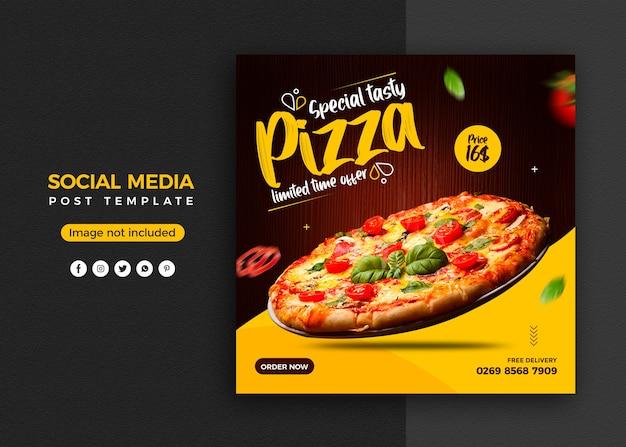 Pizza social media promotion und instagram banner post design vorlage