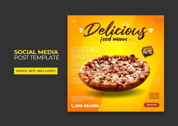 Pizza square banner für social media premium psd