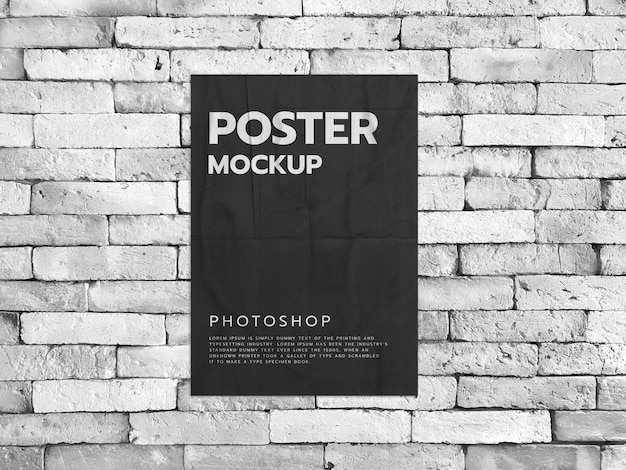 Plakat auf einem weißen backsteinmauerhintergrund