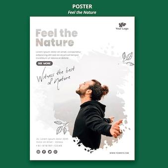 Plakat fühlen die naturschablone