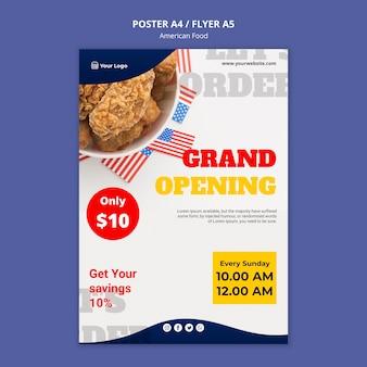 Plakat für amerikanisches essensrestaurant