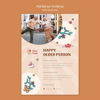 Plakat für die unterstützung und pflege älterer menschen