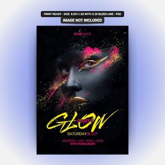 Plakat für eine glühenmusikparty