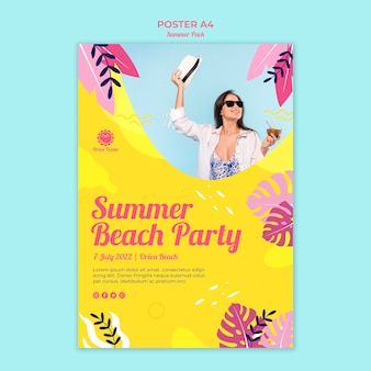 Plakat für sommerstrandparty