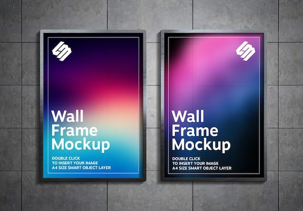 Plakat hängen an metallpaneelen wandmodell