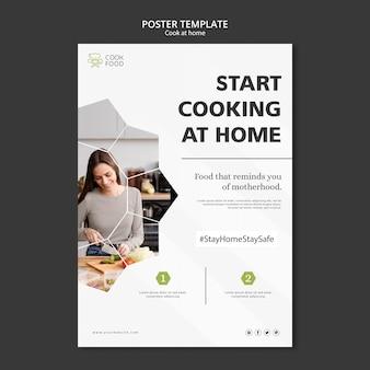 Plakat mit dem kochen zu hause design