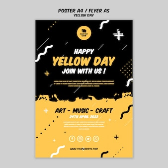Plakat mit gelbem tagesthema