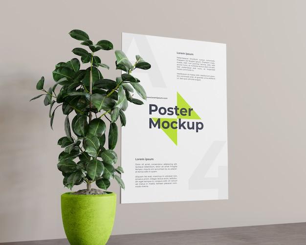 Plakat mit pflanzenmodellblick auf der linken ansicht