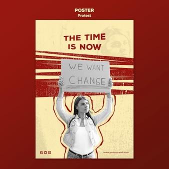 Plakat mit protest für menschenrechte