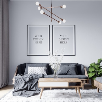 Plakat-modell u. wand-modell-skandinavischer wohnzimmer-innenhintergrund