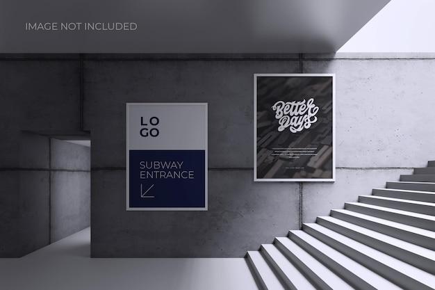 Plakat oder zeichen auf grauem wandmodell