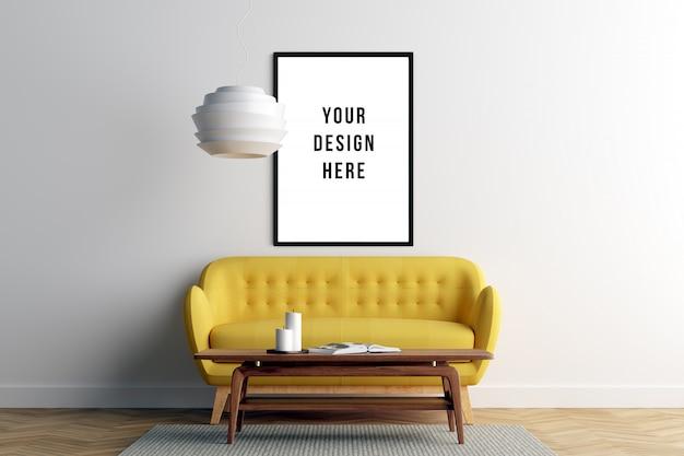 Plakat-rahmen-modell-innenraum mit sofa und dekoration