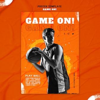 Plakat zum basketballspielen