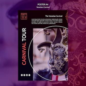Plakatdesign für ventian karnevalsschablone